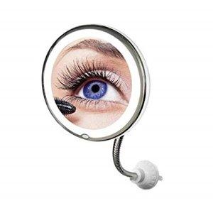 Espelho aumento 5x extensivel de maquiagem iluminado grande 20cm de mesa, parede e bancada