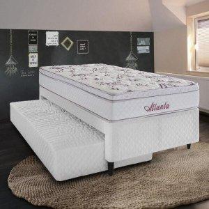Cama Box Herval Solteiro Atlanta, 54x88x188 cm, Molas Bonnel, Cama Auxiliar