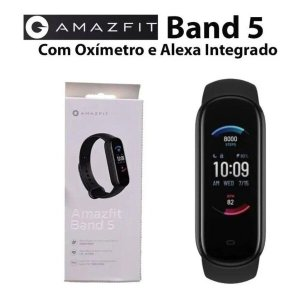 Relógio Inteligente Amazfit BAND 5 - Com Alexa E Oxímetro Lançamento Versão Global - Preto com branc