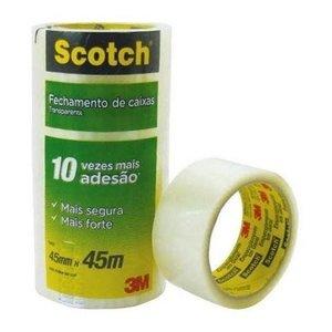 4 Fitas Adesivas Larga Empacotamento Scotch 3m Transparente