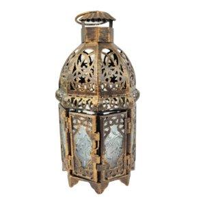Lanterna Decorativa Dourada 21x10cm Envelhecida Marroquina