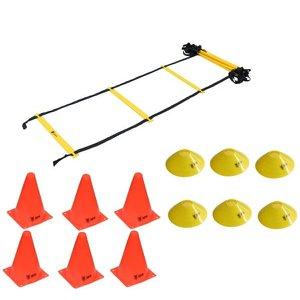 Kit Funcional Escada Agilidade Pvc 6 Cones 6 Chapéu Half