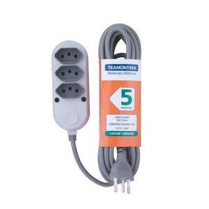 Extensão Elétrica Régua 3 Tomadas 2P+T Bivolt 5M Tramontina