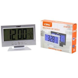 Relogio De Mesa Digital Termômetro Despertador Prata