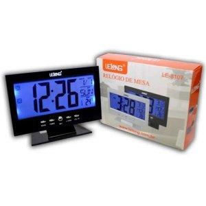 Relogio De Mesa Digital Termômetro Despertador Preto