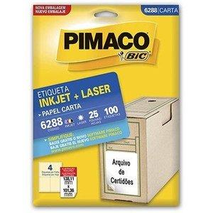 Etiqueta Ink-Jet/Laser Carta 6288 Pimaco, Branca, Pacote c/ 25