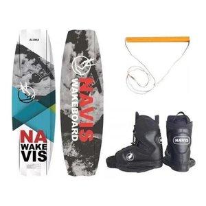 Kit Completo Wakeboard Navis Prancha Aloha 141 Botas Manete