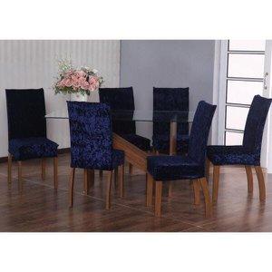 Capas Para Cadeira Em Tecido Veludo 6 Peças - Azul Marinho
