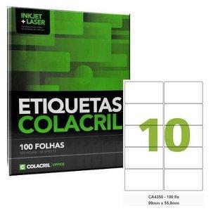 Etiqueta Adesiva A4 99 X 55,8 Mm 100 Folhas Colacril Ca4350