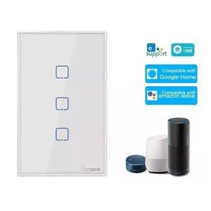 Sonoff® T2 Us Interruptor Wifi Inteligente 3 Botões Touth Screen Wi-fi & Rf 433 Mhz
