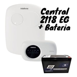 Kit Central De Alarme AMT 2118 EG e Bateria Selada 12 V 7 Ah