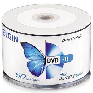 DVD-R 4.7GB 16x - Printable - Tubo com 50 unidades - Elgin 82202