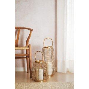 Lanterna Dourada em Metal com Alça