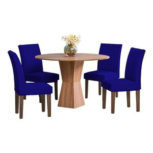 6 Capas Cadeira Jantar Malha Elástico Azul Royal