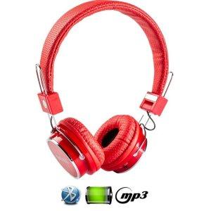 Fone De Ouvido Bluetooth Micro Sd Mp3 Rádio Fm Player - Vermelho