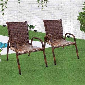 Kit 2 Cadeiras De Junco Almofadado Para Varanda