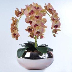 Arranjo de Orquídea de Silicone Vaso Rose Gold Cris