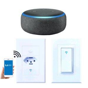 Kit Casa Conectada - 1 Smart Speaker Echo Dot Alexa, 1 Interruptor Wifi e 1 Tomada Wifi