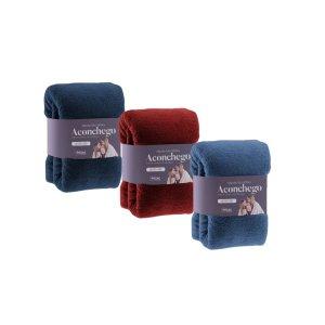kit com 3 Manta Cobertor Microfibra King Aconchego Rozac - Bege - Azul marinho