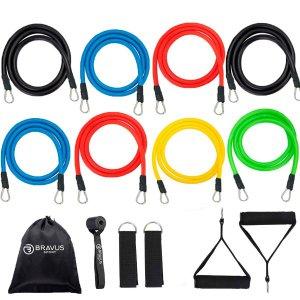 Kit Tubing Basic 14 Peças Elásticos Extensores Bravus Sport
