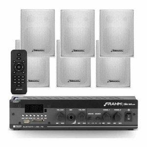 Kit Som Ambiente Bluetooth Slim 1600 + 6 Caixas Ps200 Plus Brancas Frahm