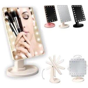 Espelho grande portatil led maquiagem mesa iluminação de 22 leds aumento giratorio barba