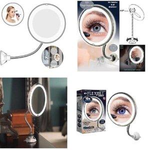 Espelho giratorio aumento 10x de maquiagem e barba com led para banheiro e mesa com ventosa