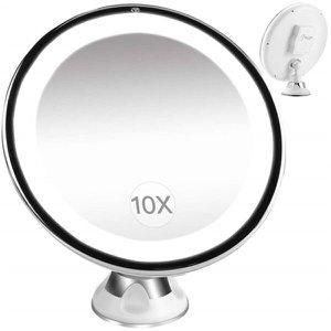 Espelho giratorio led barba maquiagem com ventosa aumento 10x banheiro e mesa iluminacao profissiona