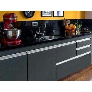 Gabinete para pia de cozinha 1,80m Michelangelo Preto Fosco 100% MDF 15mm