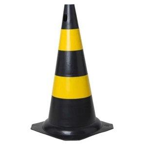 Cone Sinalização Estacionamento Segurança Obra 50cm - Preto/Amarelo