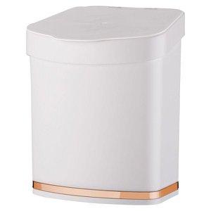 Lixeira de Pia 2,5 Litros Eleganza Detalhe Cobre Rosé Gold Cozinha - Branco/Cobre