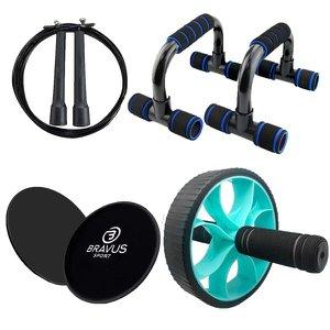 Roda Abdominal Basic, Suporte Apoio Flexão Push Up, Disco de Deslizamento e Corda de Pular Cabo de A