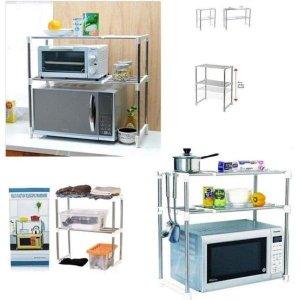 Prateleira expansivel 2 andares organizador de cozinha microondas banheiro armario guarda roupas