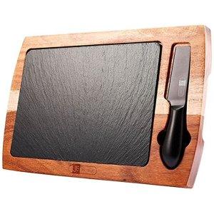 Tábua de Corte Madeira James.F com Faca de Queijo 27,5x17,5 cm
