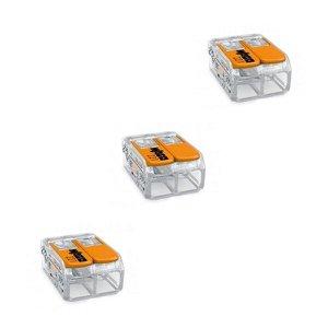 Kit com 3 Conectores de Emenda 2 Polos de 0,5 a 6 mm Linha 221 Wago