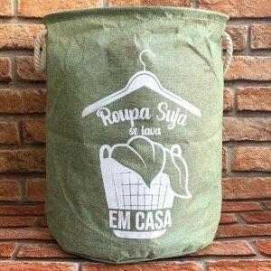 Cesto Organizador Multiuso Dobrável Redondo Frases - Roupa Suja Se Lava Em Casa - Esmeralda