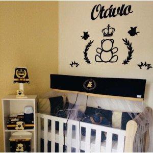 1. Kit Painel de Parede Completo Urso Príncipe Personalizado Decoração Quarto do Bebê - Completo MDF