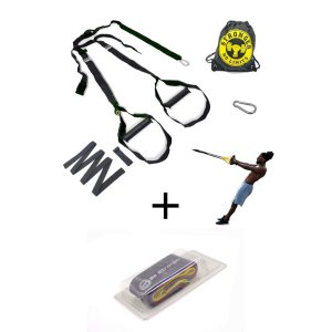 Fita Treinamento Suspensão Completo Presilha + Kit Elástico Mini Band 5 Faixas Elásticas - Verde