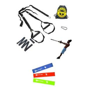 Treinamento Funcional Suspensão Presilha + Kit Elástico Fit Fisioterapia Yoga 3 peças - Preto