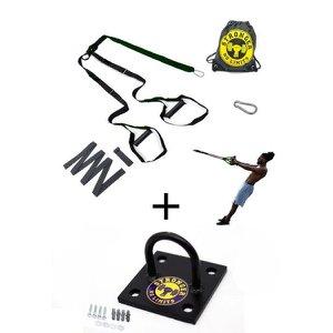 Kit Completo Fita de suspensão - Regulagem por Argola + Suporte de Teto Preto - Be Stronger - Verde