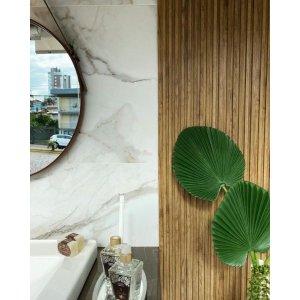 Painel Ripado 3d Imita Madeira Mdf Parede Decorativa Plástic:Sucupira