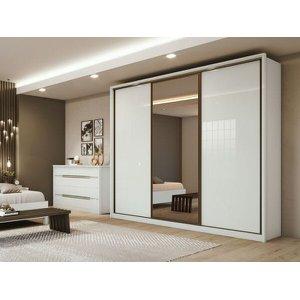 Guarda Roupa Casal com Espelho 3 Portas de Correr 6 Gavetas Spazio Glass Lopas - Branco - ByMobille
