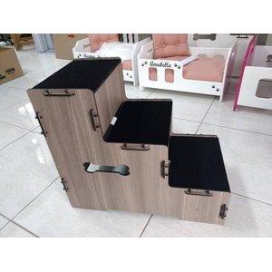 Escada Pet Para Cachorros,mdf Madeira 3 Degraus,50cm Altura - MDF Madeirado