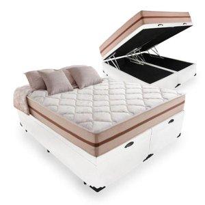 Cama Box Com Baú Queen Sintético Branco + Colchão De Molas Ensacadas - Anjos - Classic 158x198x68cm