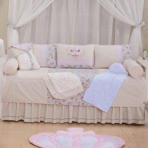 Kit Bicama Glamour 100% Algodão Enxoval Bebê 06 Peças - Ursa Realeza Floral
