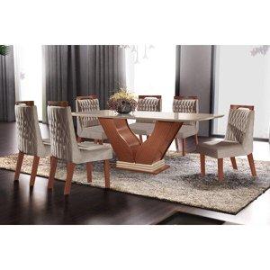 Conjunto Sala de Jantar Mesa com Tampo de Vidro Safira 6 Cadeiras Atena LJ Móveis