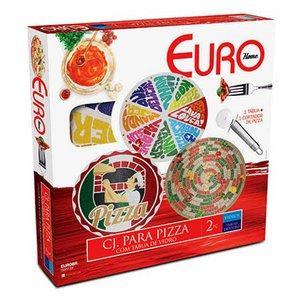 Conjunto Pizza com Tábua de Vidro 2 peças Euro:Fatias