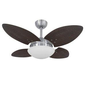 Ventilador de Teto 4 Pás e Luminária Volare Escovado Mini Pétalo Palmae Volare