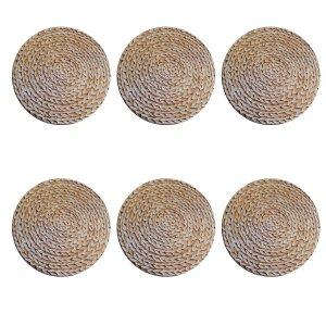 Jogo 6 capas sousplat redondo tecido estampado Sisal premium