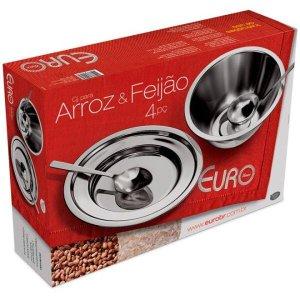 Conjunto para Servir Arroz e Feijão 4 peças Euro:Inox